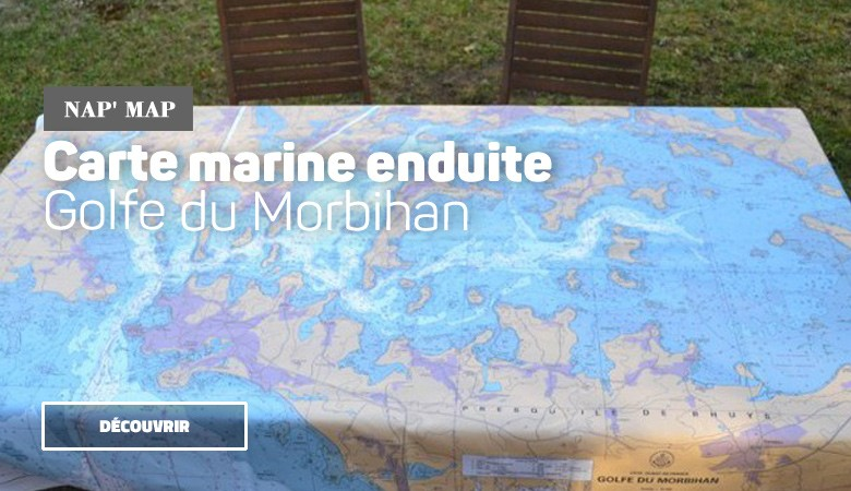 Nappe enduite carte marine Golfe du Morbihan